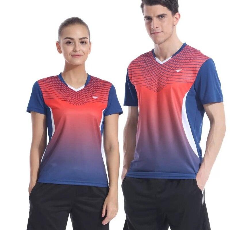 Новая спортивная быстросохнущая дышащий Бадминтон рубашка Майки, Для женщин/Для мужчин Настольный теннис рубашка одежда командная игра фу...