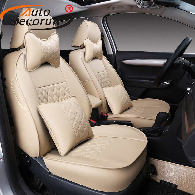 AutoDecorun Custom car seat covers for Citroen C4 Aircross seat cover accessories PU leather cushion supports covers 16 PCS/sets