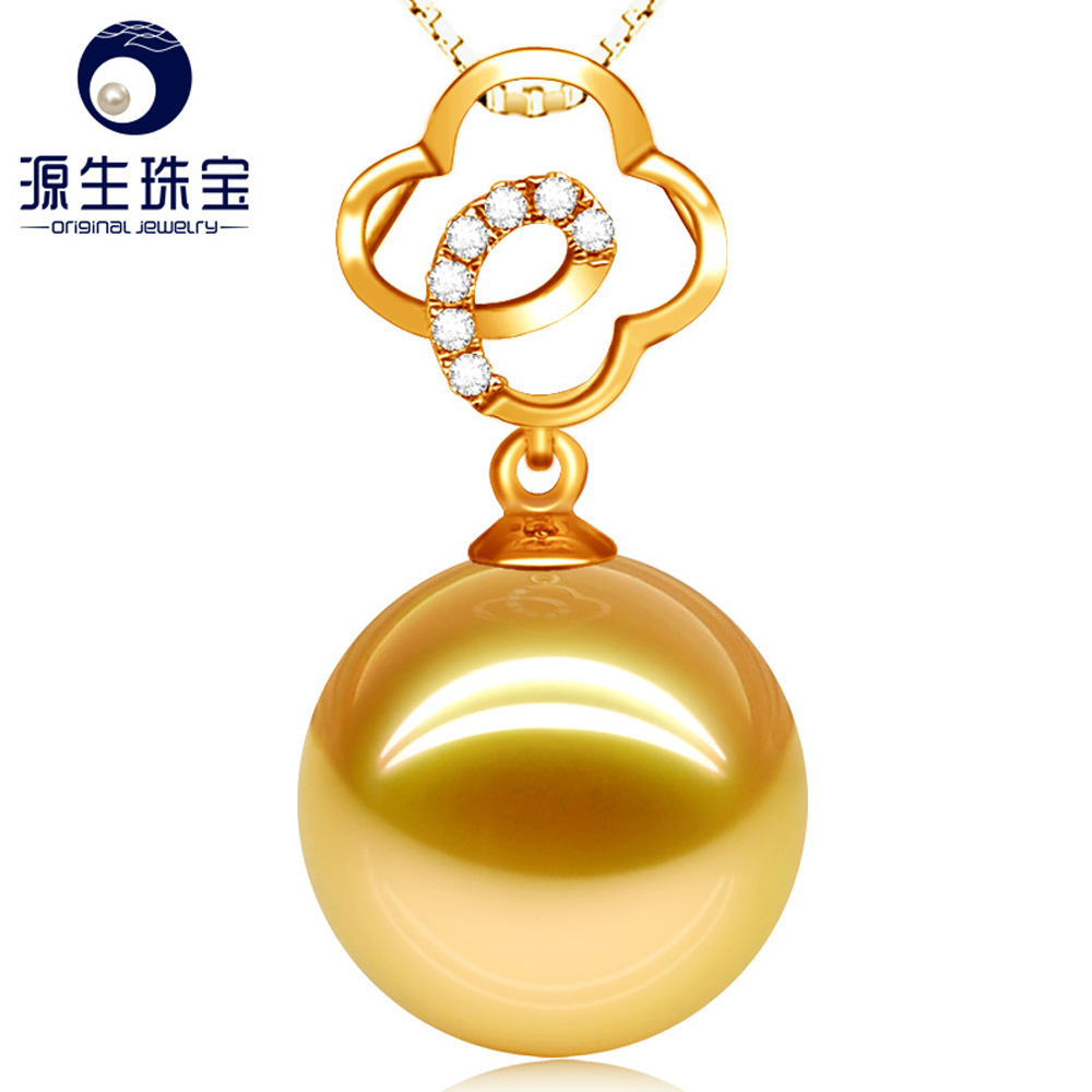 New Big Size Golden South Sea Pearl Jewerly Necklace Diamond Accented 18K Gold Pendant Pearl Necklace Jewelry for Women YSPSG007 annular black pearl diamond pendant alloy necklace