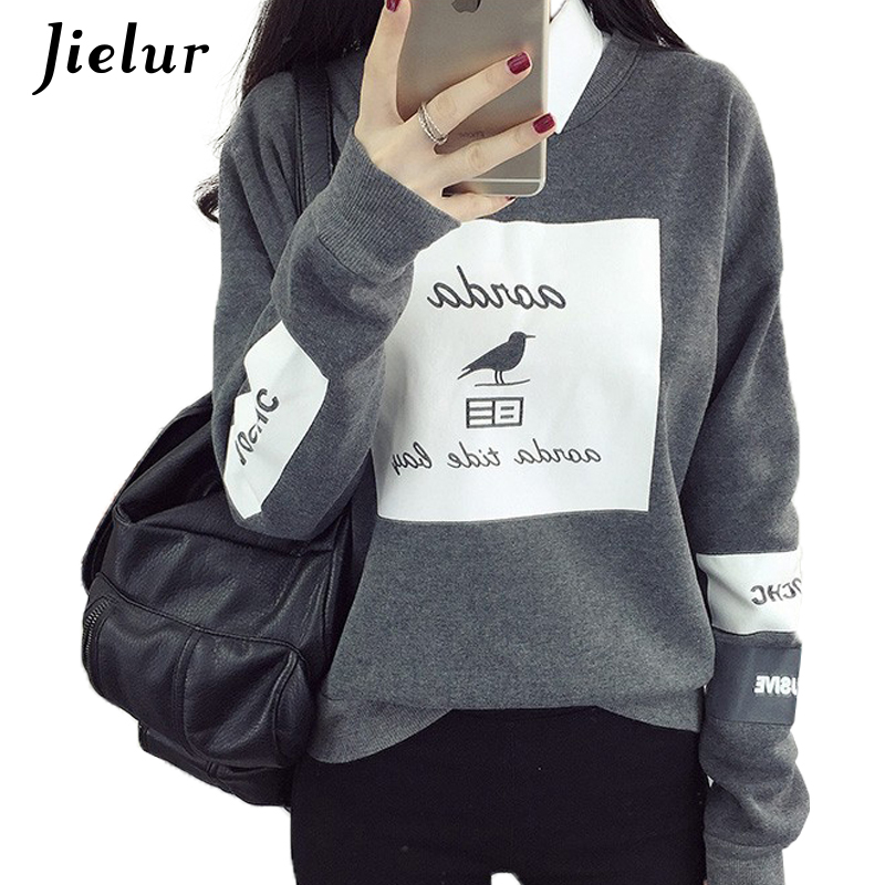 Coreeană Pop Autumn Harajuku Bird Letter Hanutii imprimate Femei Loose Runda Neck Fleece Treninguri Pulovere Cool Sweatshirt Femeie