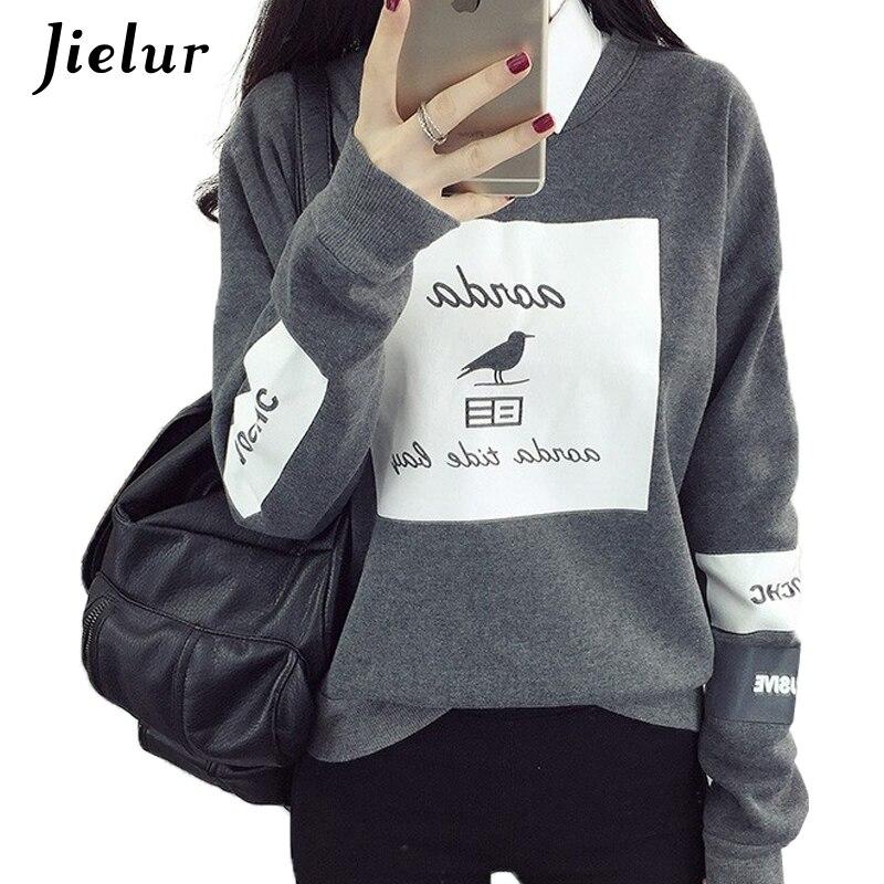 Koreanische Pop Herbst Harajuku Vogel Brief Gedruckt Hoodies Frauen Lose Rundhals Fleece Anzüge Pullover Kühle Sweatshirt Weibliche