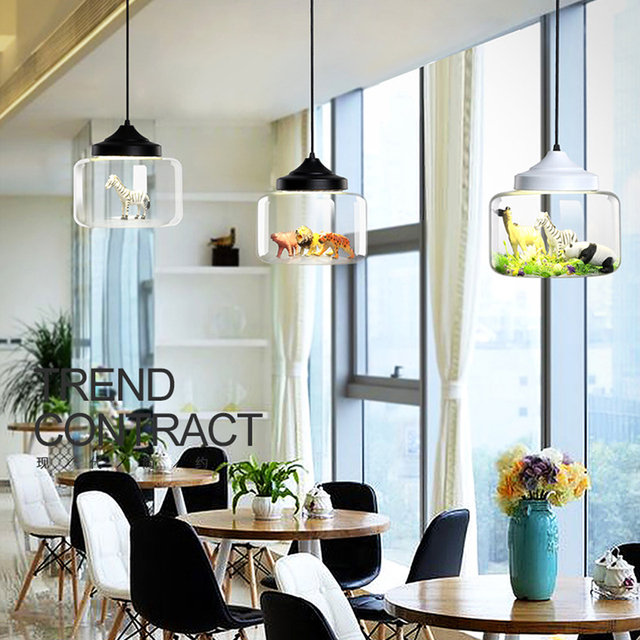 Modern glass Pendant light restaurant bar cafe creative animal models decorative suspension lamp dining room child room lighting
