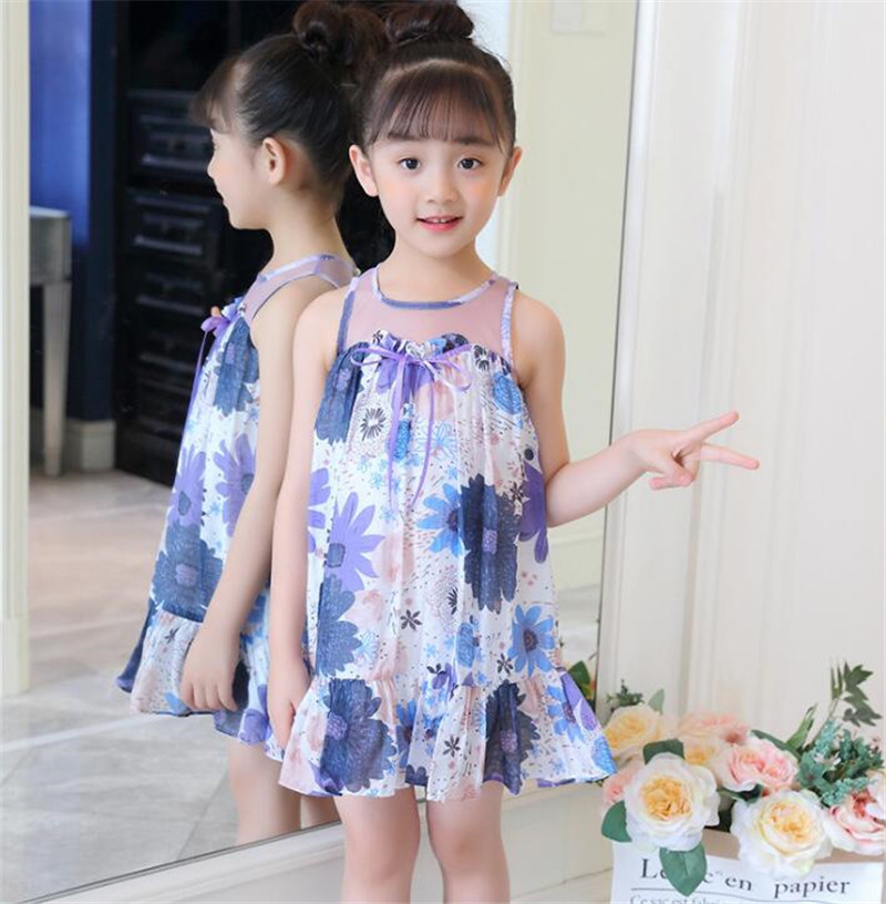 Summer Dresses Girls Print Floral Dress Children Sleeveless Mesh Bow Kids Dresses Teenage Costumes For Girls 4 6 8 10 12 Years