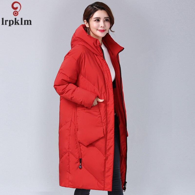 Marque de Femmes Vers Le Bas Veste Rouge Élégant Doudoune Moyen Et Longue Section D'hiver Veste Femmes Coréennes Grande Taille Manteau femelle