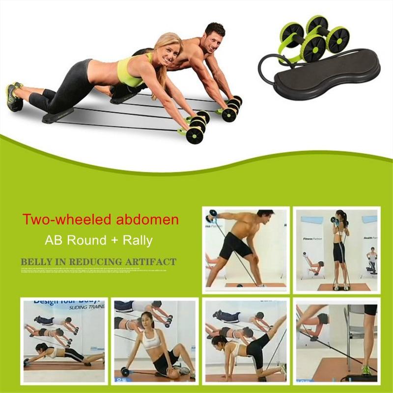 Nuevo equipo de ejercicio muscular casa aparatos de ejercicios rueda doble Abdominal rueda de potencia Ab Roller gimnasio rodillo entrenador entrenamiento
