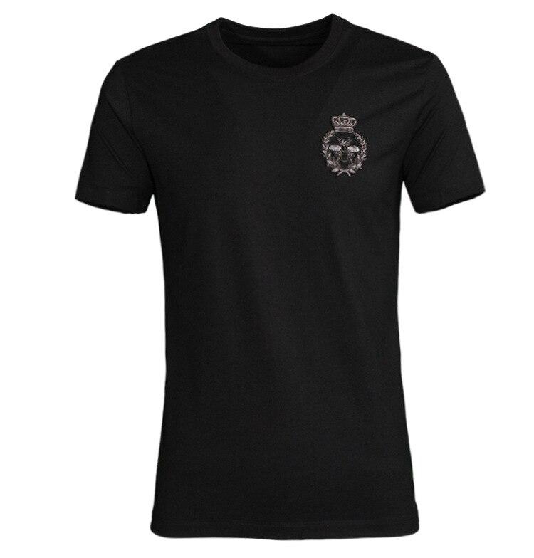 2019 nieuwe bee handgemaakte Indiase zijde geborduurde tij merk t shirt katoen mannen t shirt korte mouw-in T-shirts van Mannenkleding op  Groep 1