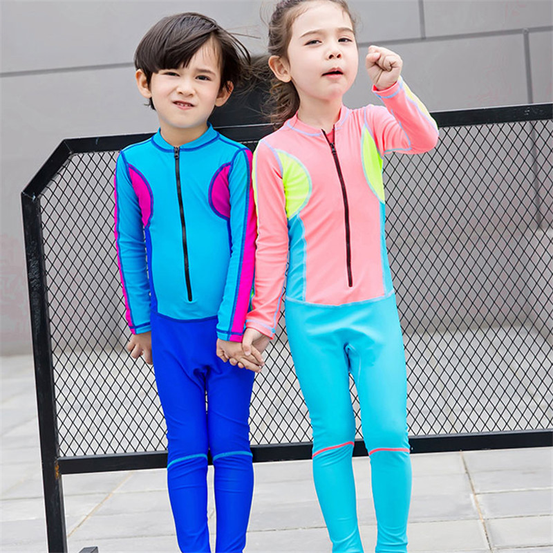 2017 Child Swimwear One Piece Boys Girls Long Sleeves Long Pants Swimsuits Kids High Quality Diving Swimming Suit M-3XL