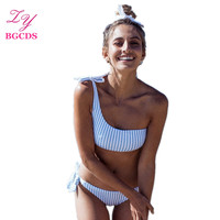One Shoulder Bandage Bikini Set Women Swimsuit Sexy Swimwear Striped Swim Wear Female Swimming Suit Bandeau
