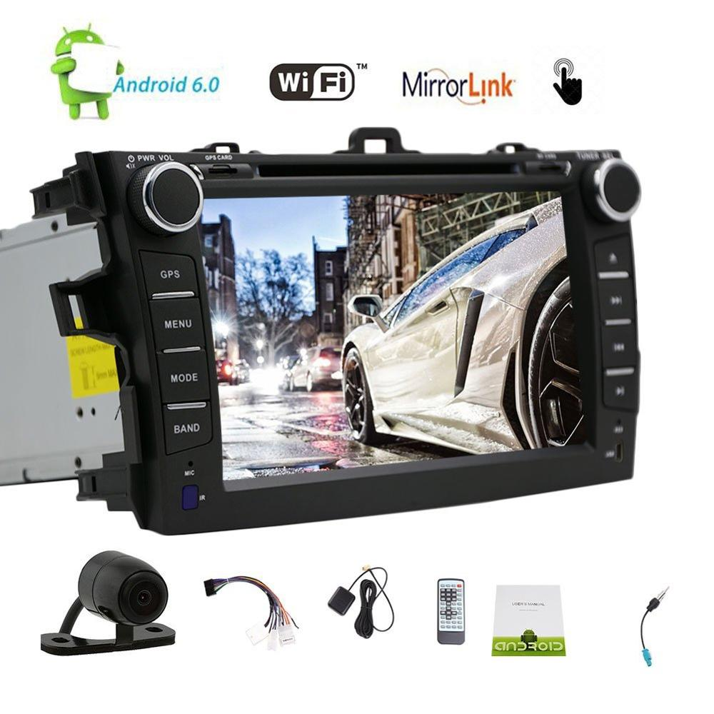 Android 6.0 Car Stereo Car DVD Player GPS Navigation Auto Radio multimedia/WiFi/Mirrorlink for Toyata Corolla 2013 Rear Camera