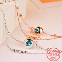 2018 Summer Beach Anklets AAA Cubic Zircon 925 Sterling Silver Chain Cz Anklet Woman Fashion Jewelry
