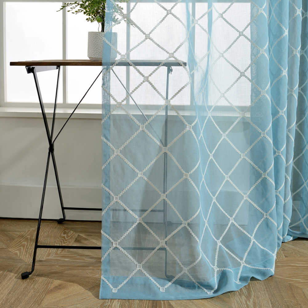 Modern Embroidered Geometric Plaid Lattice Sheer Voile Curtains for Living Room Pink Blue Curtain Tulle Drape for Bedroom WP0542