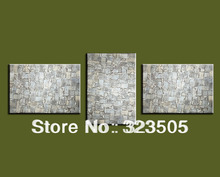 3 piece grey knife paint texture canvas hand painted wall picture oil paintings for living room quadros de parede sala estar