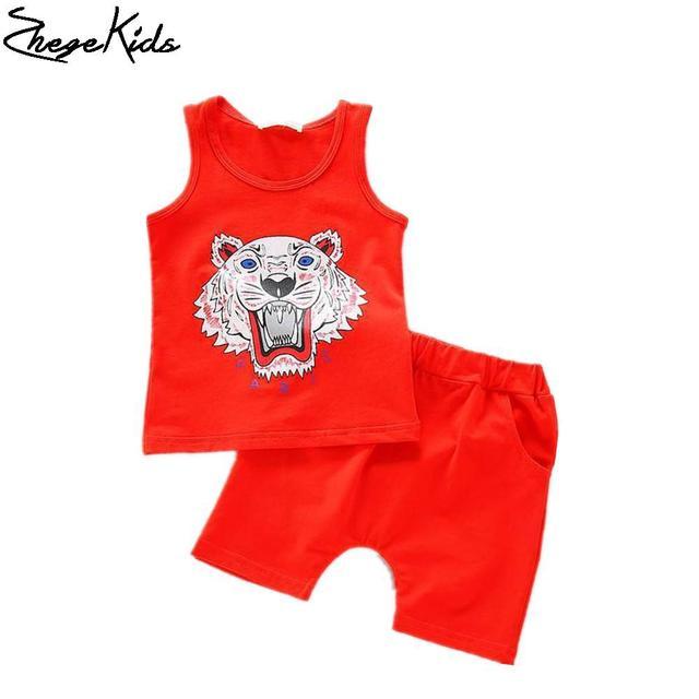 New 2016 Summer Kids Girls Boys Suit  Sleeveless Tiger logo T-shirt + Pants Kids Sports Suit Children Clothes Set