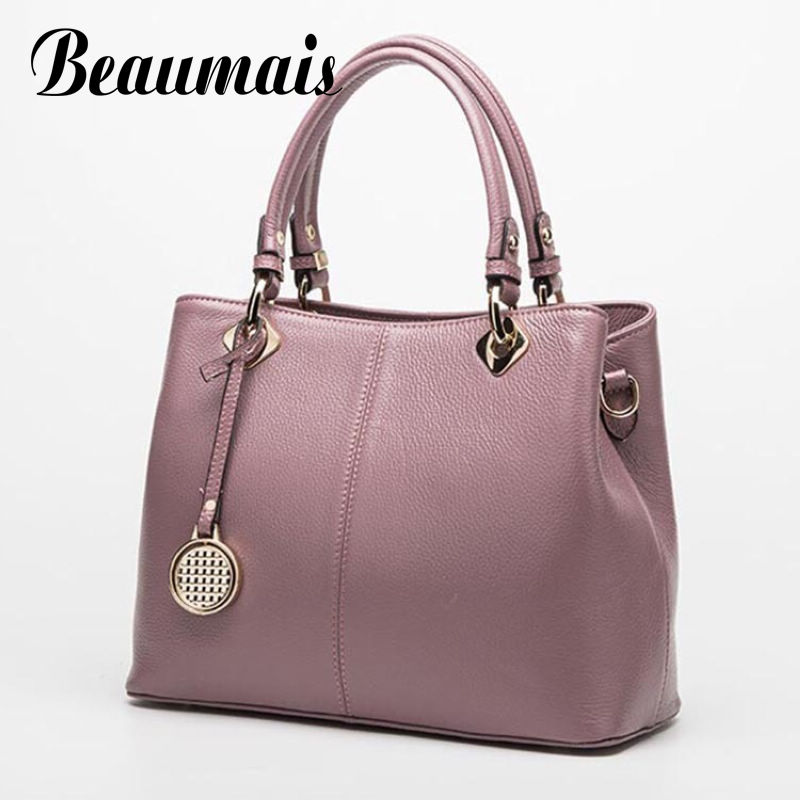 Beaumais Genuine Leather Women Handbags Brand Shoulder Bags For Women Casual Women Crossbody Messenger Bag Ladies Tote DB6093 women shoulder bags leather handbags shell crossbody bag brand design small single messenger bolsa tote sweet fashion style