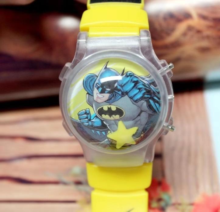 New Luminescent Watch Cartoon Silicone Flip Cover Children's Watch Water Ball Flashing Light Watch Bat Children's Electronic Wat