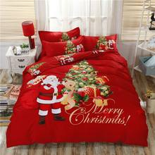 100% Cotton Christmas Bedding Set Santa Claus Duvet Cover Flat Sheet Twin Queen King Size Soft Bed linens Red Star Pillowcase(China)