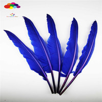Z&Q&Y natural high quality 35 40CM (14 16 inch) 100 crane feather dyeing blue color DIY stage Christmas holiday party decoration