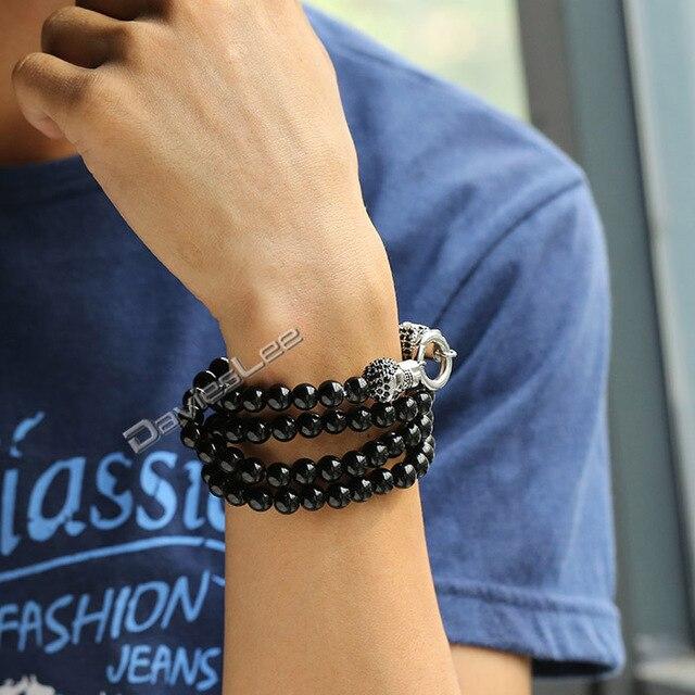 8mm 51cm Mens Chain Black Ball Bead Link Skull 316L Stainless Steel Buddha Necklace w/ Black Rhinestones Wholesale Jewelry LHN72