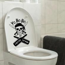 Pirate Skull Home Decor Bathroom Vinyl Toilet Sticker Wall Decal 6ws0232