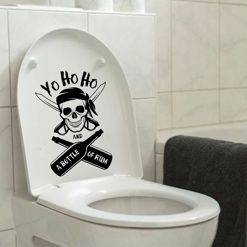 Pirate Skull Home Decor Bathroom Vinyl Toilet Sticker Wall Decal 6ws0232 China Mainland