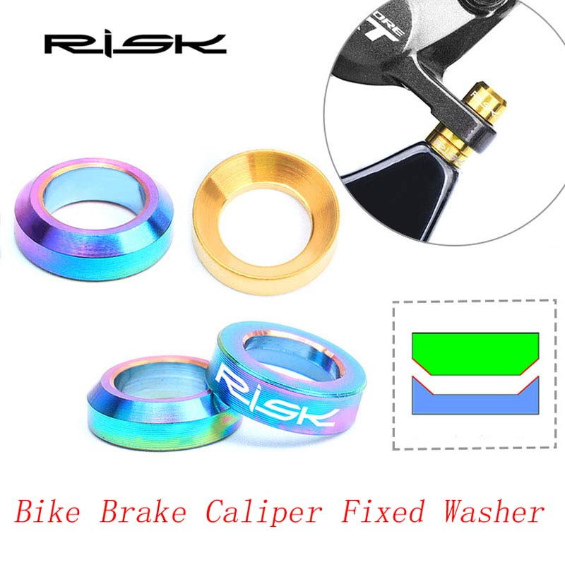 RISK 2sets M6x5.2mm Titanium Alloy Brake Caliper Gasket Fixed Bolts Bike Hydraulic Screws Spacer For Group Shimano XT M8000
