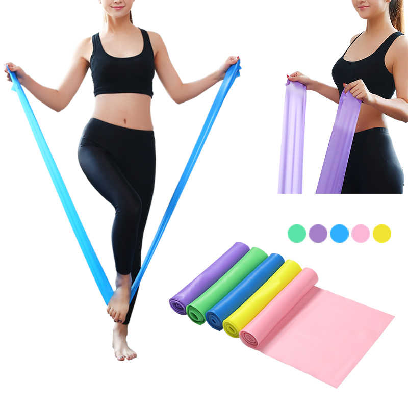 Gym Apparatuur 1.5M Yoga Pilates Rubber Stretch Band Yoga Resistance Bands Elastische Sport Bands Oefening Band Fitness Riem