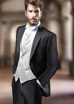 High Quality One Button Black Groom Tuxedos Peak Lapel Groomsmen Mens Wedding Prom Suits (Jacket+Pants+Vest+Tie) NO:97