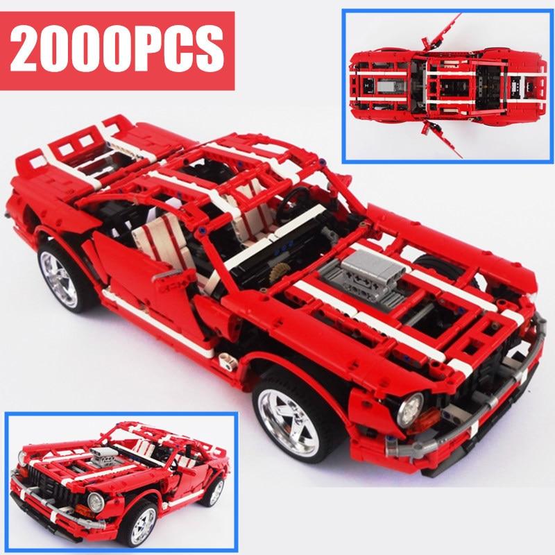 New 2000PCS Technic series creator Creative MOC fit technic Ford mustang Muscle Car Building Blocks Bricks