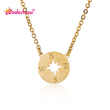 Фотография Simple Necklace 2016 for Women Stainless Steel 14k Gold & Silver Plated Dainty Disc Compass Charms Pendant Necklace NL2634