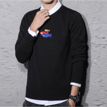 Wholesale Men Spring Autumn Sweater 0 Neck Casual Sweaters Computer Knitted Casual Fashion Print Fish Men Sweater