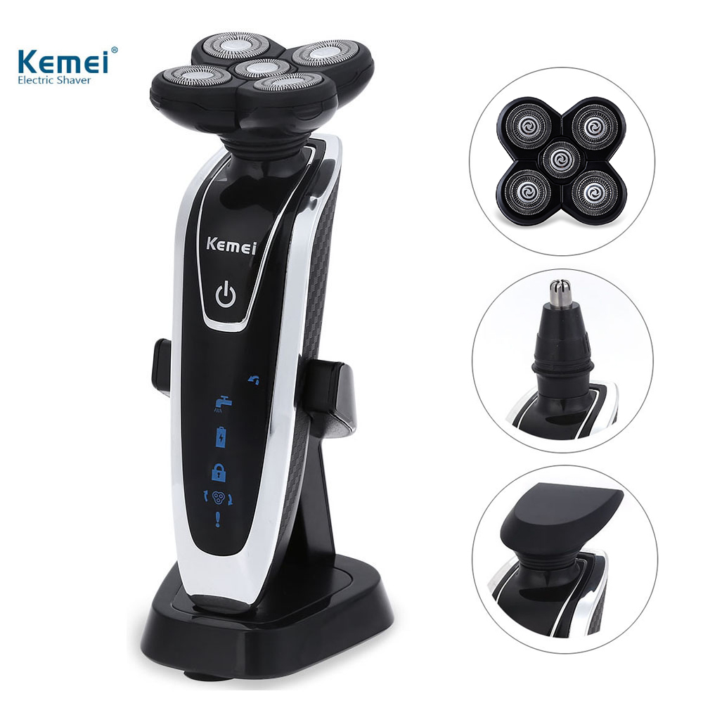 Kemei KM5886 3 in1 Electric Shaver 5D Floating Razor with Nose Hair Trimmer 2 Floating Heads Rechargeable Shaving tool kemei 2 heads rechargeable electric shaver reciprocating electronic shaving machine rotary hair trimmer face care razor bt 086