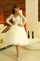 Myriam Fares Short White Lace Appliqued Sweetheart Neckline Long Sleeve Knee Length Ball Gown Homecoming Dress Custom Made