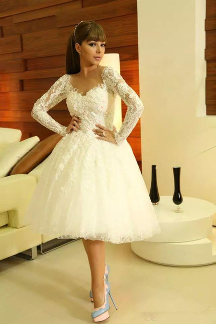 9695c89984c Myriam Fares Short White Lace Appliqued Sweetheart Neckline Long Sleeve Knee  Length Ball Gown Homecoming Dress