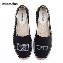 Minmclas Summer Hemp Slippers Alpargatas Camera Comfortable Slip-on Womens Espadrilles Breathable Flax  Canvas for Girl Shoes
