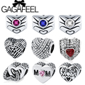 GAGAFEEL Unique Feathers Wings Charm Best Mum Heart Bead Fit Pandora Bracelet Bangle Necklace Beads for Jewelry Making