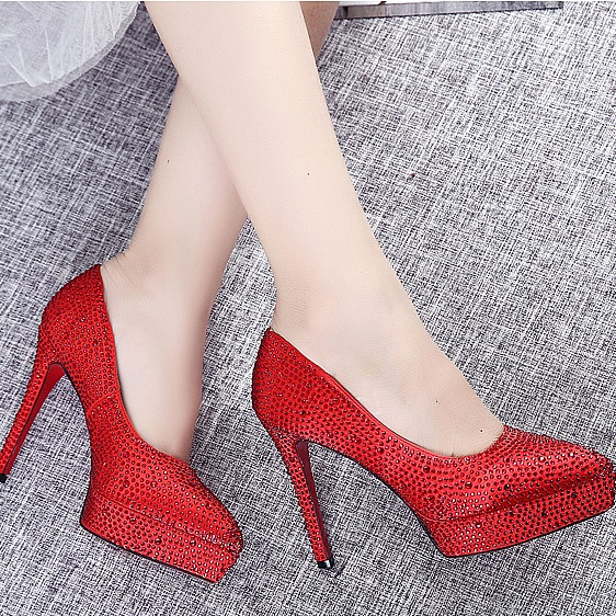New arrival RED/silver pointed toe shoes crystal women's wedding shoes thin high heel platform shoes party pumps free shipping