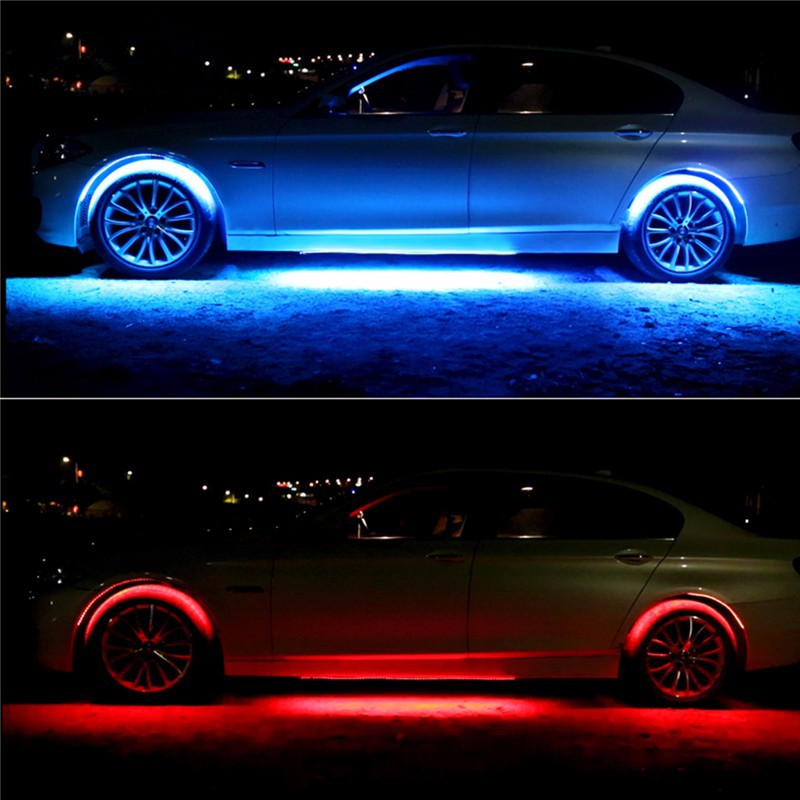 4x8 Colors Bright Auto LED Strip Neon LED Car Bottom Lights Underglow Underbody Music Active Sound