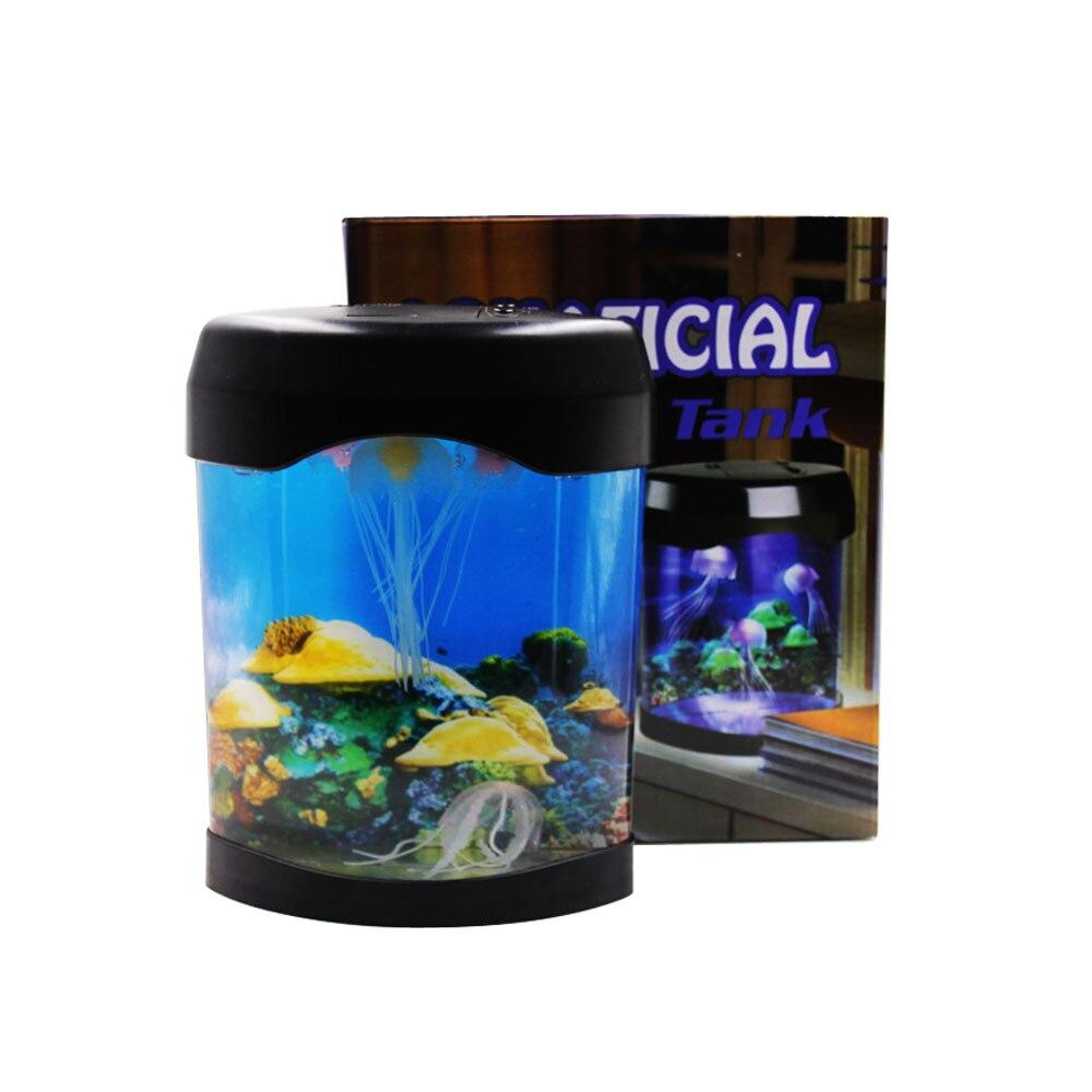 Lampe de méduse de LED colorée lampe d'aquarium de bureau lampe d'aquarium de lumière ornementale boîte de lumière cadeau de Birtherday lampe de réservoir d'eau magique