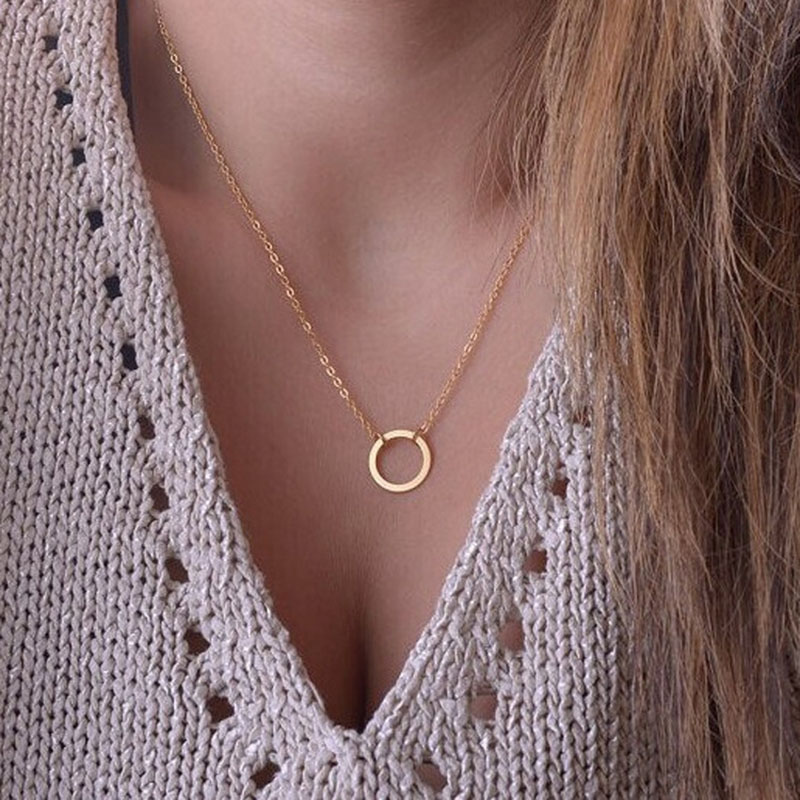 New Fashion Geometric Round Circle Pendant Necklaces Minimalism Women Accessories Short Chain Necklaces Party Jewelry Gift NB602 4