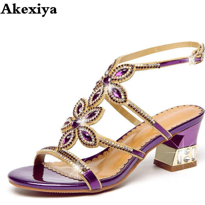 new Bohemian high special crystal diamond sandals female summer leather non slip high sand beach shoes women sandals-in Middle Heels from Shoes    1