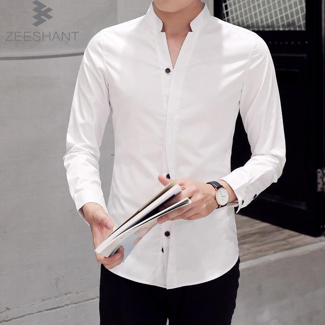 М-7XL Новых Людей Способа Рубашка С Длинным Рукавом Мандарин Воротник Slim Fit Рубашки Мужчин Корейский Бизнес Мужские Рубашки Платья Camisas Masculina