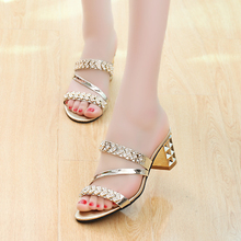 2017 Women summer shoes thick slipper toe with high-heeled sandals slippers a rhinestone tide ladies  shoes woman gold