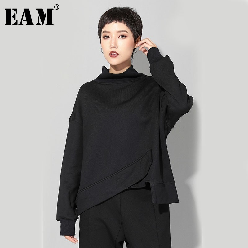 [EAM] 2020 New Spring Round Neck Long Sleeve Black Big Size Irregular Hem Split Joint Sweatshirt Women Fashion Tide JO061