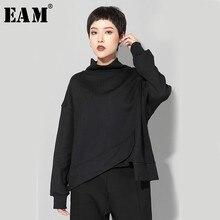 [EAM] 2020 Neue Frühling Rundhals Langarm Schwarz Große Größe Unregelmäßigen Saum Split Joint Sweatshirt Frauen Mode flut JO061