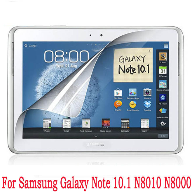 Clear Glossy Screen Protector Protective Film For Samsung Galaxy Note 10.1 N8000 N8010 Tablet + Alcohol Cloth + Clean Cloth