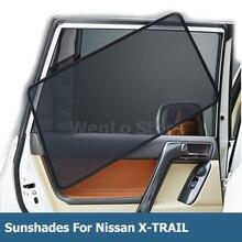 цена на 4 Pcs Magnetic Car Side Window Sunshade Laser Shade Sun Block UV Visor Solar Protection Mesh Cover For Nissan X-TRAIL 2014-2018