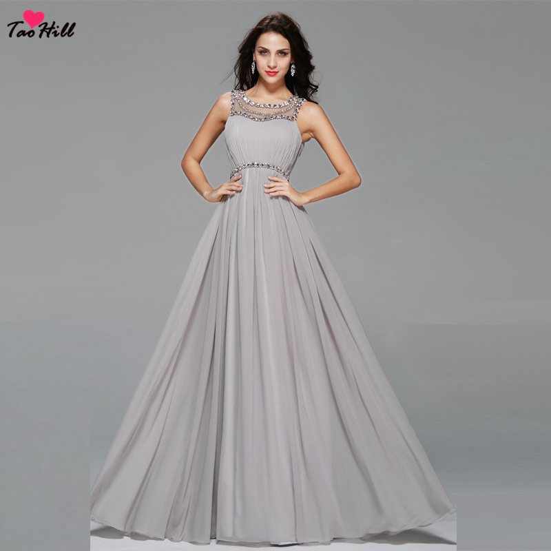TaoHill Elegant Silver Maid Of Honor Dress A-line Ruffles Beads And Crystals Long Chiffon Evening Dresses