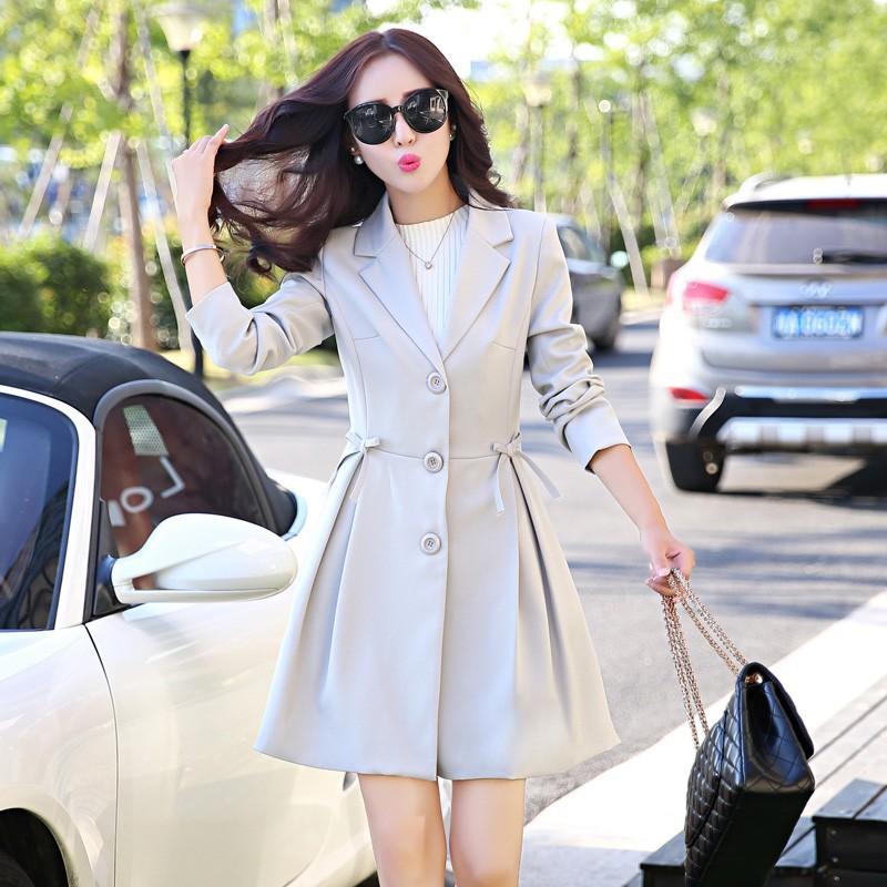 Super Pretty  Elegant Trench Coat Women Windbreaker Ladies Peplum Jacket Pink Grey Green Manteau Femme Silm Long Blazers cccc