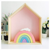 Candy Color Wooden Rainbow Building Blocks Decoration Baby Room Photography Props Christmas Children Toy Gift Ornament