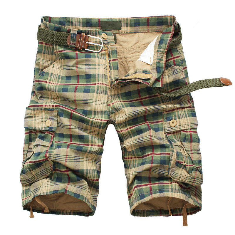 HANQIU 2019 Summer Plaid Beach Shorts Mens Casual Camouflage Military Short Pants